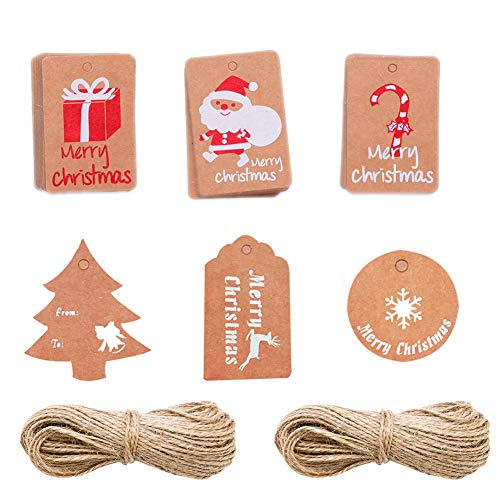 Christmas Kraft Gift Tags Brown Paper Name Hanging Tags Labels with Twine String Tie on Smooth for DIY Xmas Holiday Present Wrap and Package Name Card, 60 Pcs]()
