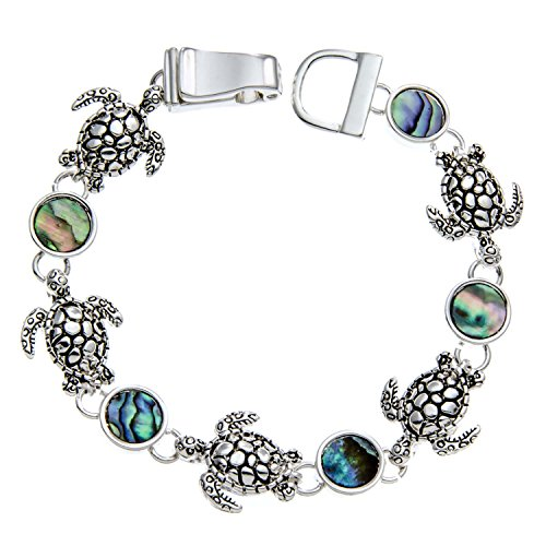 PammyJ Silvertone Turtle Charms and Abalone Bracelet with Magnetic Closure