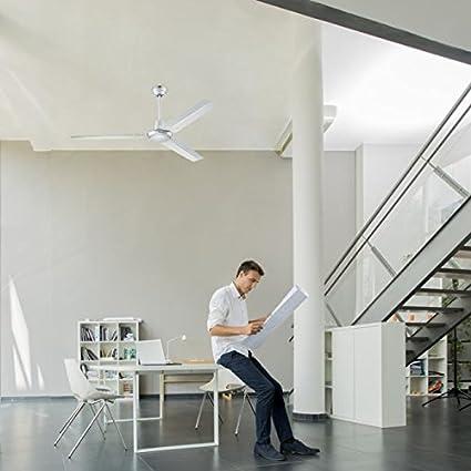 Industria moderna stile Ventilatore a soffitto con interruttore parete 122 cm Meteor nichel
