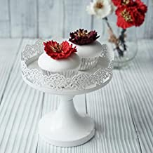 White Cake Holder, Botitu 4 inch Mini Vintage Cupcake Stand with Lace Decoration and Stainless Steel Pedestal Cake Stand for Wedding, Birthday Party and Baby Shower, Perfect for Brownies, Macrons, Muffins Dessert Display Stand
