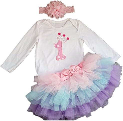 a425ef3d9 AISHIONY Baby Girls' 1st Birthday Tutu Onesie Outfit Newborn Princess Dress  3PCS