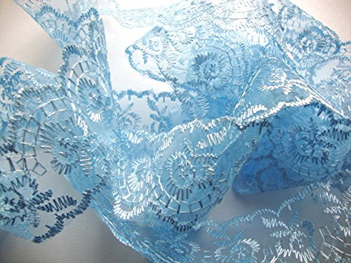 45mm Baby Blue/Pale Blue Flat Lace Trimming/Edging - One metre by Cranberry Card Company