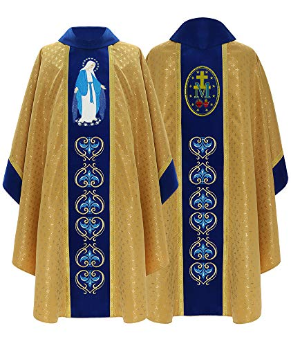 Gold/blue Marian Gothic Chasuble