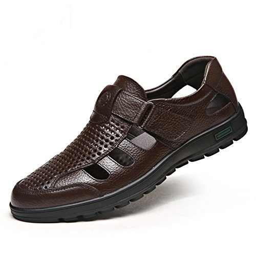CMM Mens Close-Toe Sandals Brown Leather Formal Summer Shoes Size 12.5
