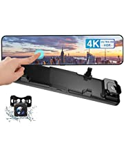 """Camecho 4K Mirror Dash Cam for Cars, 12"""" Full Touch Screen Rear View Mirror Camera, 2.5K Rearview Camera, 8MP Sony Sensor for Super Night Vision with Parking Assistance"""