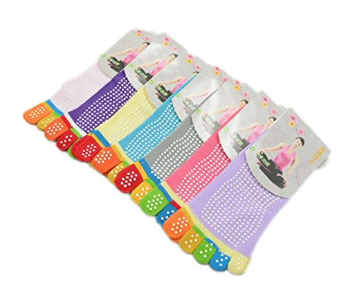 USOLDFLY Women Yoga Socks Non Slip Skid Toe Grips Five Finger Athletic 7 Pairs 7 Pairs One Size (Climacool Volleyball Shoe)