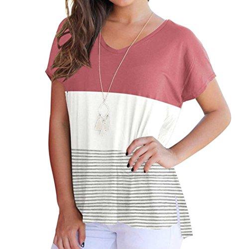 Women Tops, Gillberry Women Short Sleeve Fashion Tops Block Stripe T-shirt Casual Blouse (Pink, XL)