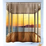 HAIXIA Shower-Curtains Landscape Modern Design Empty House with Mountain Ocean Scenery Marigold White Blue and Light Brown