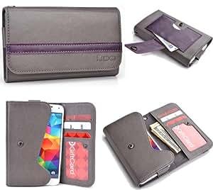 Grey Purple Mens | Womans Wallet Phone Duo Fits LG Optimus 3D 2 +NuVur KeyChain ESMLGPE1