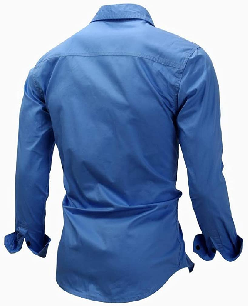 Lutratocro Mens Long Sleeve Combat Slim Top Button Down Shirts