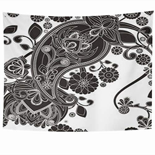 Alfredon Wall Tapestry Hanging, 60 x 50 Inches Lacy Based On Asian Pears Vintage Black White Paisley Associated Pickles Tapestries, Decor for Home Bedroom Living Room Dorm