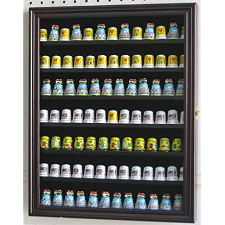 Thimble Display Case Cabinet Hardwood With Glass Door Shadow Box