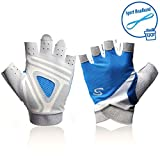 Yaayan Blue Padded Women's Power Weight Lifting Gloves for Fitness Workout, Mountain Bike