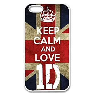 Apple iPhone 5 Keep Calm and Love 1D One Direction SLIM WHITE Sides Case Cover Skin Mobile Phone Accessory Faceplate Retro Vintage Comes in Case Cartel Packaging by ruishername