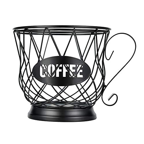 Coffee Pod Holder Mug Shape K Cup Holder Basket Coffee Pod Storage Organizer for Counter Coffee Bar Black