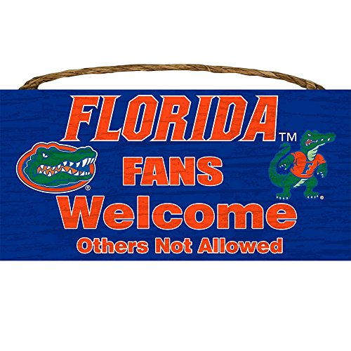 - LA Auto Gear Florida Gators College University NCAA Team Logo Garage Home Office Room Wood Sign with Hanging Rope - Fans Welcome Others Not Allowed