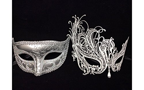 His And Hers Masks For Masquerade Ball (His and Her Masquerade Masks Couple 2 Piece Masks Set Many Designs by Yacanna (Silver White))