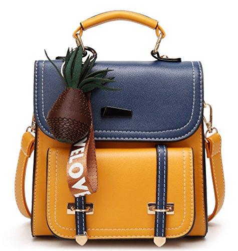 Small Backpack Purse Women Satchels Handbag Fashion Travel Bag (Brown-blue) ()