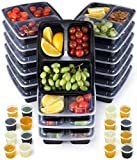 Meal Prep Container 16-Pack, 950ml Black 3 Compartment Food Containers | Microwave, Freezer and Dishwasher Safe Reusable Meal Prep Containers | Compartment Lunch Boxes | Bonus:16 Leak Proof Sauce Pots