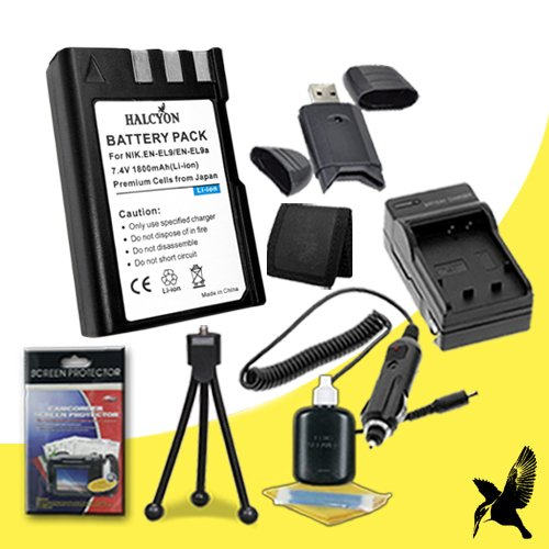 Halcyon 1800 mAH Lithium Ion Replacement EN-EL9 Battery and Charger Kit + Memory Card Wallet + SDHC Card USB Reader + Deluxe Starter Kit for Nikon D3000 10.2 Megapixel Digital SLR Camera and Nikon EN-EL9 by Halcyon