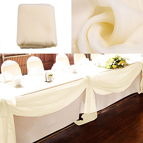 vLoveLife 33ft Ivory Sheer Organza Top Table Swag Fabric Table Runner Chair Sash Wedding Car Party Stair Bow Valance Decorations