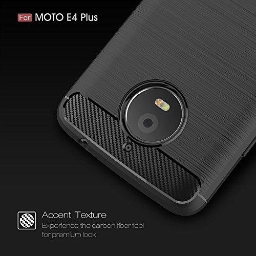 König Boutique Motorola Moto E4Plus TPU Case Carbon Fibre Optique Brushed Coque Noir