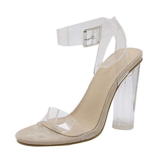 d0e663f8453 Nevera Women's Transparent Open Toe Pump Ankle Strap Dress Chunky Block  High Heel Sandals