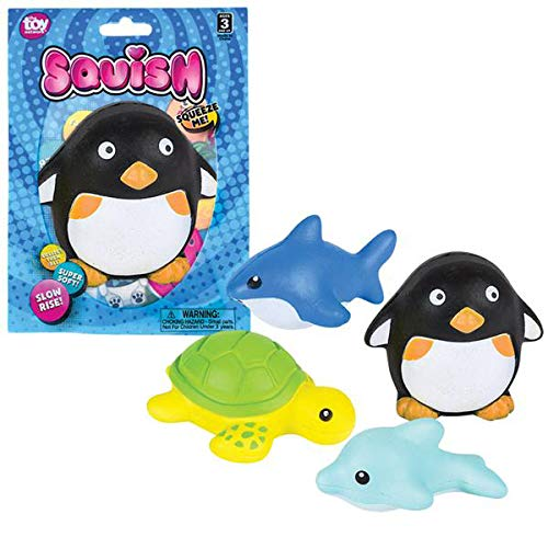 "Sea Animal Squishy Assortment - Pack of 12, 3"" Squeezable Sea Life Decompression Toys - Perfect as Stress and Anxiety Reliever, Sensory Toy, Party Supply, Imaginative Play ()"