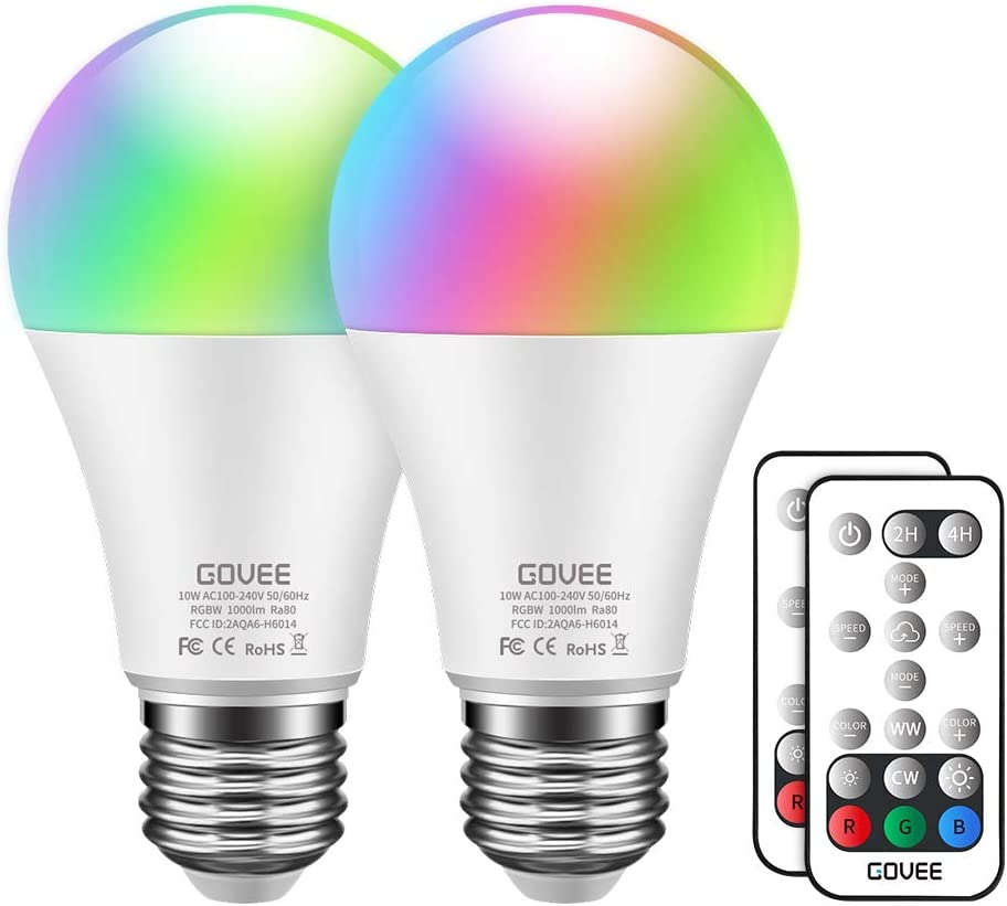 Govee RGBW LED Light Bulbs, 10W (100W Equivalent) 1000lm Color Changing Light Bulb with Remote, Dimmable Multicolor Decorative LED Bulbs for Home, Party, Warm White 2700K, Cool White 6500K (2 Pack)
