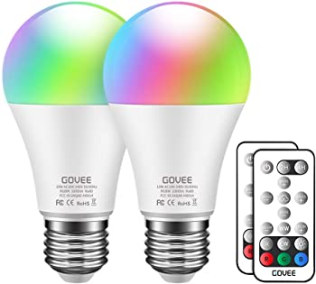 2-Pack Govee RGBW LED 100W Equivalent 1000lm Color Changing Light Bulb