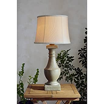 Design Craft Fonyo 31-inch High With Coquina Finish And Cream Tappered Drum Outdoor Table Lamp