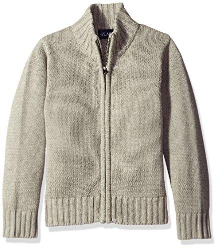The Children's Place Big Boys' Zip Front Uniform Sweater, Smoke, Medium/7/8 (Front Sweaters Zip)