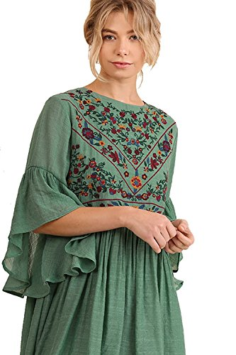 Umgee Boho Bliss! Sage M (Floral Embroidered Dress)