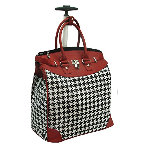 Classic Houndstooth 14-inch Rolling Laptop Travel Tote Red ()