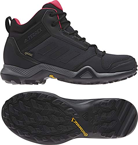- adidas Outdoor Terrex AX3 Mid GTX Womens Hiking Boots, (Carbon, Black, & Active Pink), Size 7.5