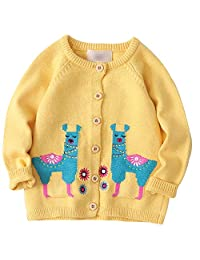 Achiyi Girls Cardigan Sweaters Brilliant Yellow Long Sleeve Knitted Outwear Button up Round Collar Sweatshirt