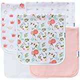 5-Pack Baby Burp Cloths for Girls, 100% Organic Cotton...