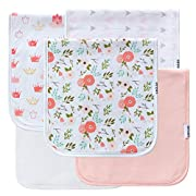 5-Pack Baby Burp Cloths for Girls, 100% Organic Cotton, Triple Layer, Thick, Soft and Absorbent Towels, Burping Rags for Newborns, Baby Shower Gift Set by LNGLAT