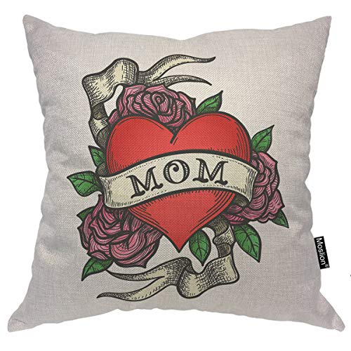 Moslion Love Pillows Red Hearts Rose Flower Green Leaves Ribbon Love for Mother's Day Father's Day Mom Throw Pillow Cover Decorative Pillow Case Square Cushion Cotton Linen Canvas Home 18x18 Inch