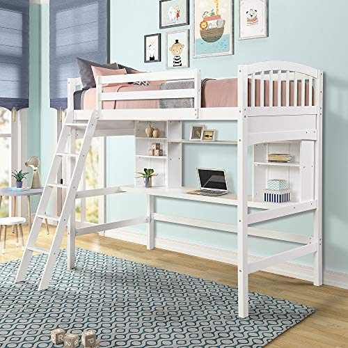 MERITLINE Wood Loft Bed with Desk Twin Size Study Loft Bed Frame with Angled Ladder, Environmental and Natural Finish for Kids and Teens