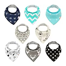 Alva Baby Bandana Drool Bibs Stylish Unisex for Boys and Girls 8 Pack of Super Absorbent Baby Gift Settings SKX02-CA
