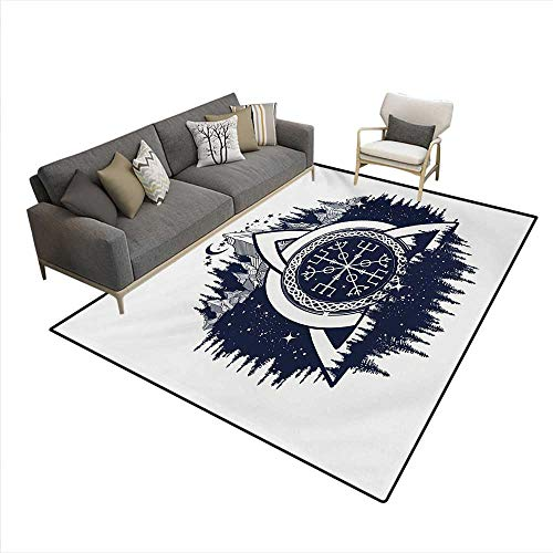 - Rug,Celtic Knot with Tridents Forest and Mountains Scandinavian Culture,Area Carpet,Dark Blue White,6'x7'