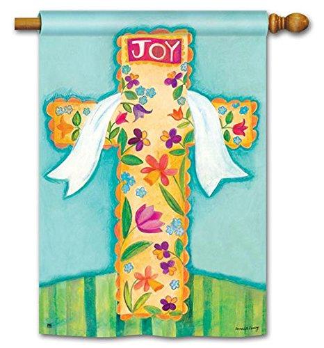 He is Risen Joy Easter House Flag Religious Decorative Cross Banner 28