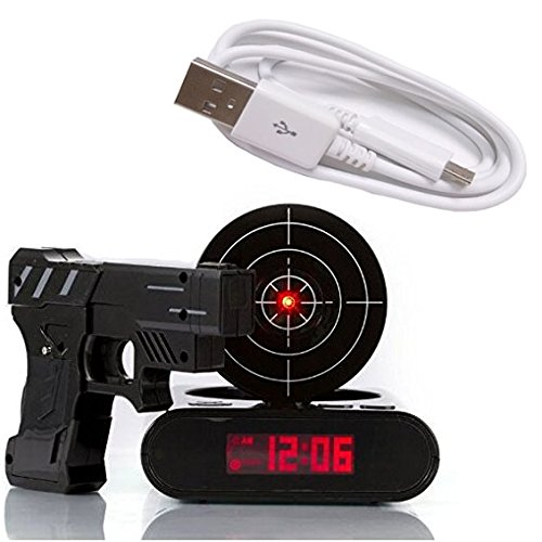 Gun Alarm Clock Target Wake Up Shooting Game Toy Novelty: DELIWAY® Newwest Version Novelty USB Gun Alarm Clock