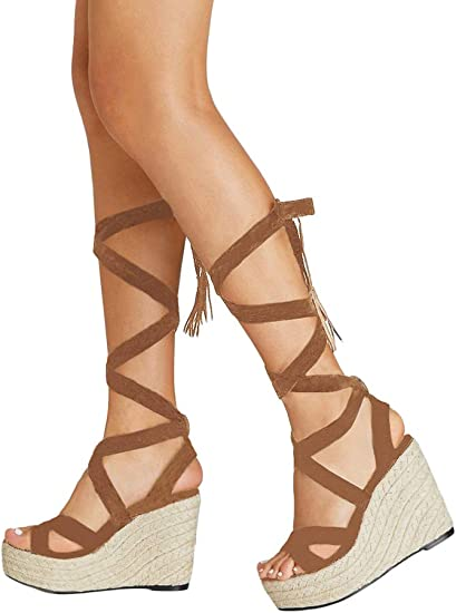 NEW LADIES LACE UP HIGH WEDGE HEEL CUT OUT PLATFORM GLADIATOR SANDALS SHOES SIZE