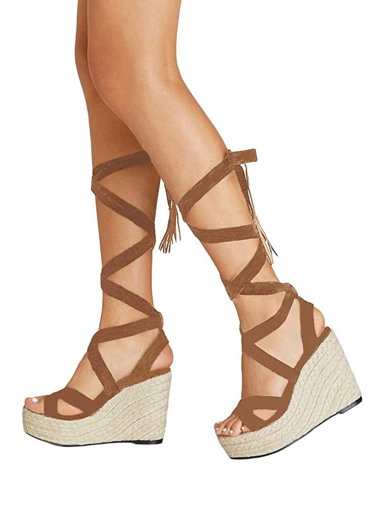 online store lower price with competitive price Amazon.com: Ermonn Womens Knee High Gladiator Sandals Lace ...