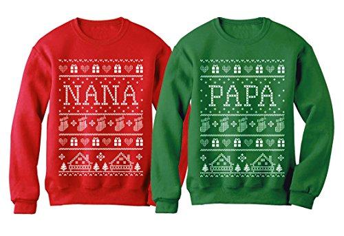 TeeStars Nana & Papa Matching Ugly Christmas Sweatshirts Set Xmas Gift For Grandparents Women Sweatshirt Red Large/Sweatshirt Green XX-Large