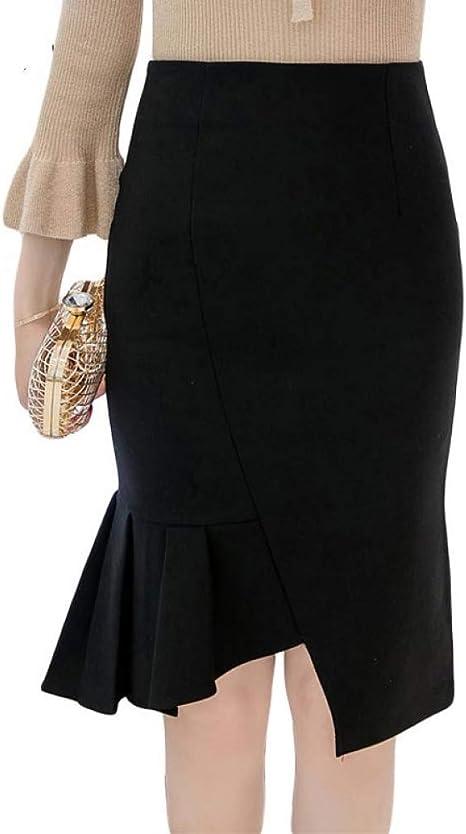 DAHDXD Falda lápiz para Mujer Falda de Cintura Alta de Talla ...