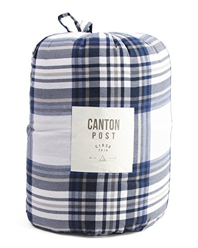 Canton Cotton (Canton Post 2 Piece Fire Engine Truck Children's Comforter Twin - Flannel Reversible Navy Blue White Plaid - 100% Cotton)
