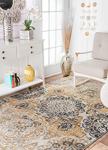 (nuLOOM RZBD52A Faded Damask Area Rug, 4' x 6', Gold)